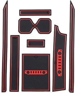 LFOTPP Jimny Sierra JB64 JB74 Gummimatten, Gummi Matten Antirutschmatten für Getränkehalter Mittelkonsole Armlehne Türschlitz 8 Stücke Rot