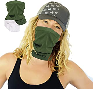 Scarf Bandanas Neck Gaiter with 5 Safety Carbon Filters,Multi-purpose Neck Warmers For Men women Sports/Outdoors (5)