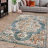 TT Home Alfombra de salón de pelo corto, diseño marroquí, con cenefa, aspecto envejecido, color: turquesa, tamaño: 120 x 170 cm
