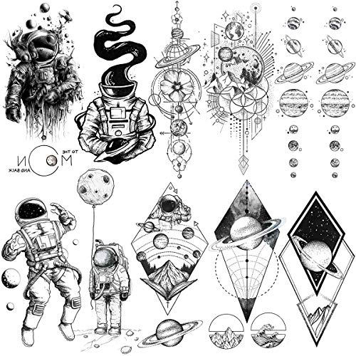 VANTATY 10 Sheets Black Spaceman Kids Temporary Tattoos For Children Stickers Cartoon Astronaut To The Moon and Back Fonts Quotes Star Universe Fake Tattoo illustration Arm Tattoos Women Boys