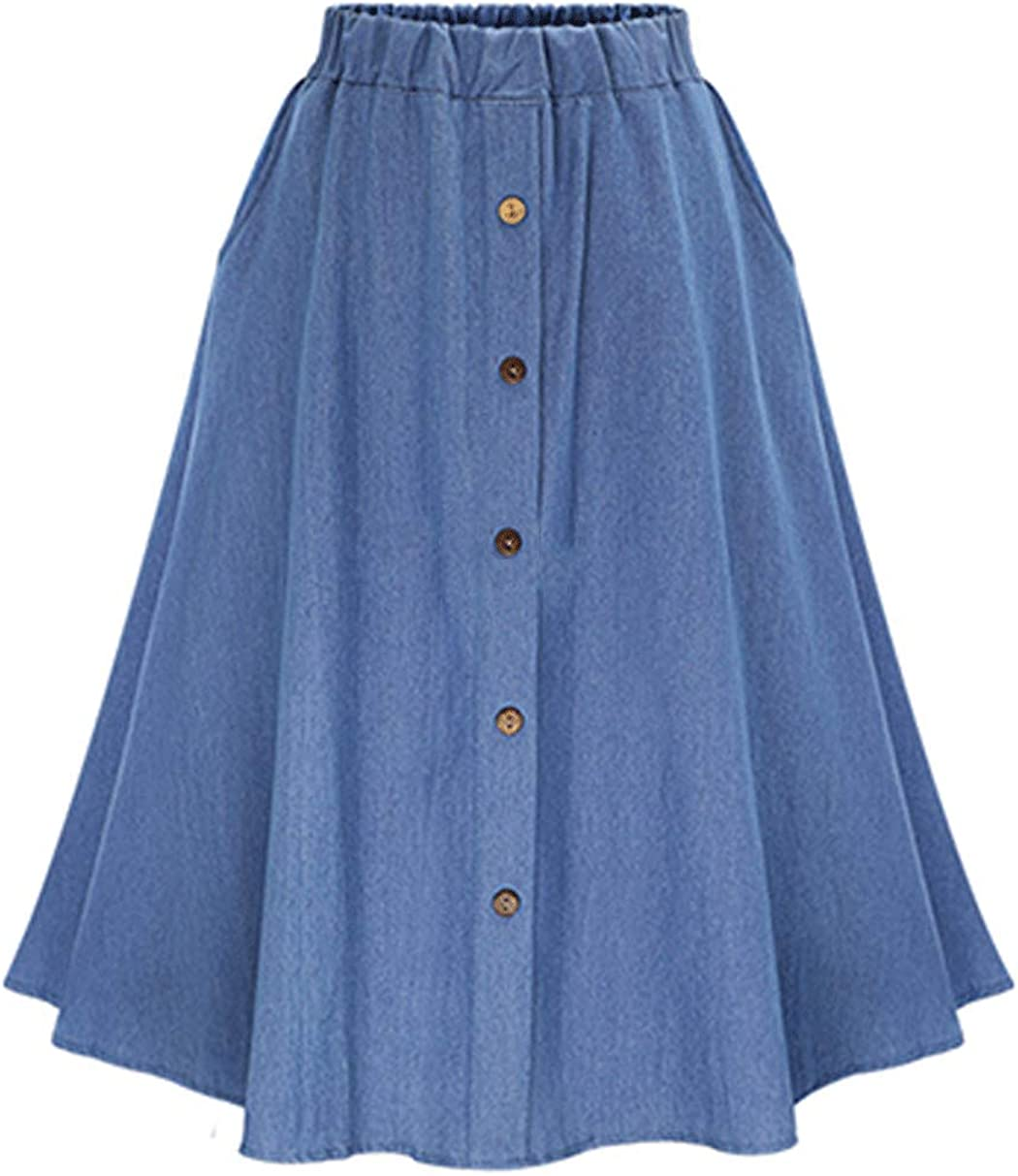 CHARTOU Womens Stretchy High Waist 5-Buttons Front A-Line Flowy Midi Skirts