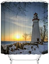Fangkun Bathroom Shower Curtain Lighthouse Design - Snow and Ice on The Ground Picture - Polyester Fabric Bath Curtains Ocean Sunset at Seaside Docks Decor Set - 12pcs Hooks (YL188#, 72 x 72 inches)