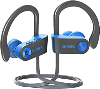 Running Headphones, Radio Bluetooth Headphones, Wireless Sports Earbuds Waterproof IPX7 with Microphone for Running Workout, Noise Cancelling Headset for Cellphone, Blue