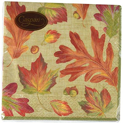Caspari Linen Leaves tovaglioli Tessuto/Carta Multicolore, Tessuto, Multicolore, 16.5x16.5x0.02 cm