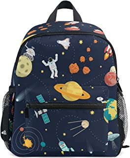 Cute Space Universe Planet Adventure Kid's Toddler Backpack Schoolbag for Boys Girls,Kindergarten Children Bag Preschool Nursery Travel Bag with Chest Clip