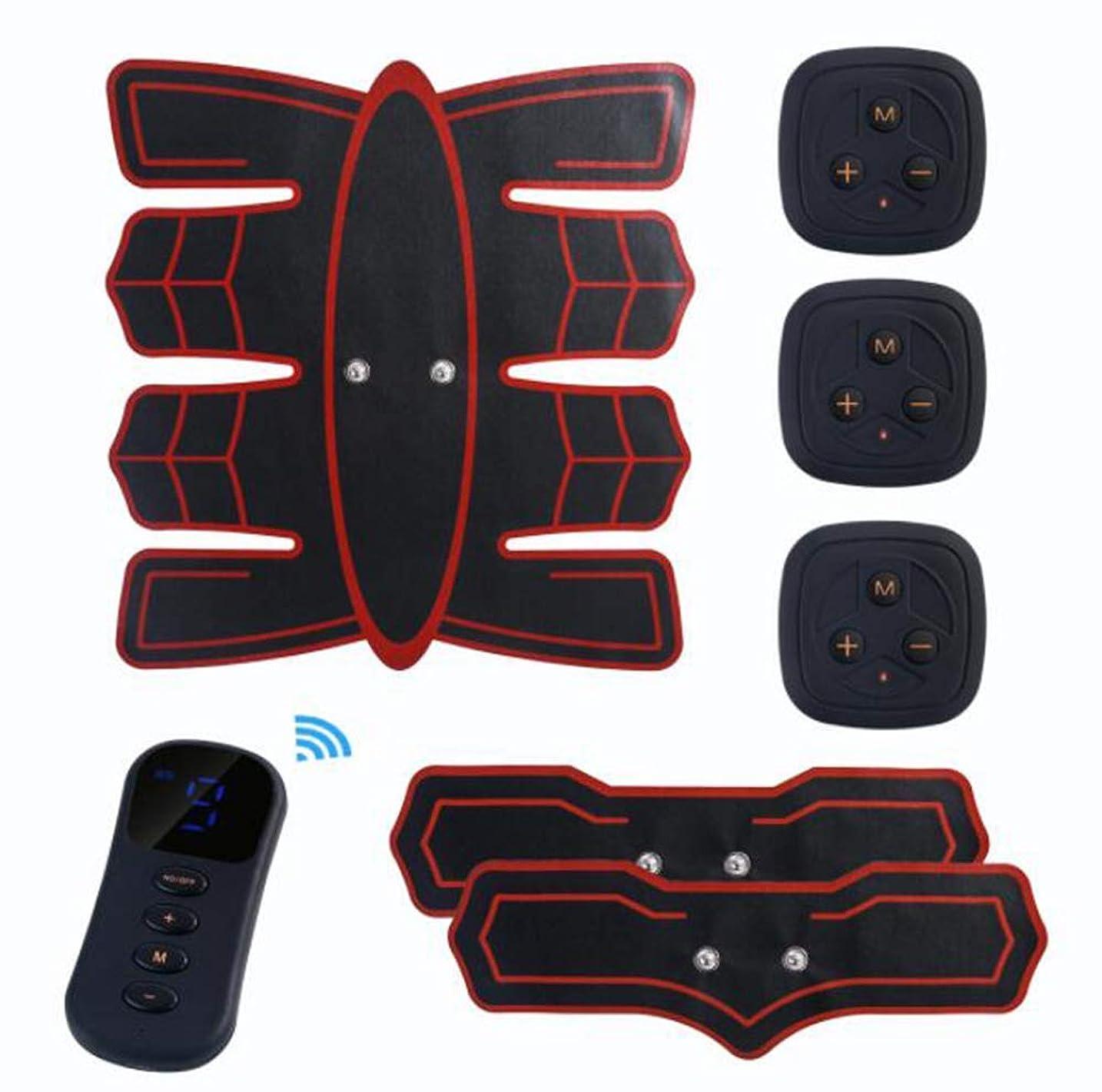 雑草ドット指定するGWM マッスルトレーナー腹部マッサージャー、腹部電気刺激装置EMS腹部トレーナー、ワイヤレス電子フィットネスマッサージャーセット腹部脚の男性と女性