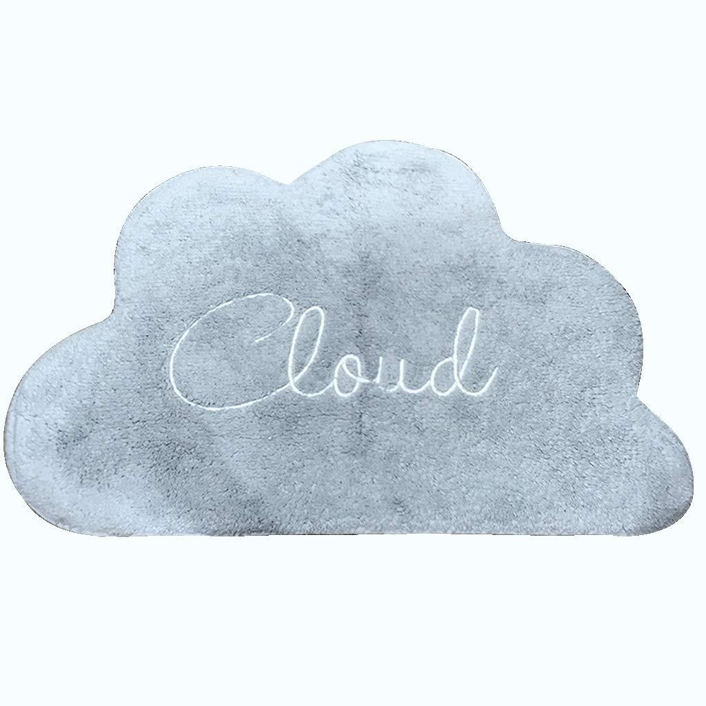 Ann-Rugs Alfombra Suave para salón con diseño de Letras en Forma de Nube, algodón, Absorbente y Antideslizante, Apta para baño de 47 x 70 cm, Color Gris y Azul: Amazon.es: Hogar
