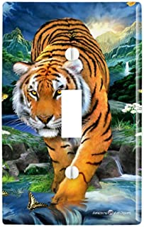 WHITE TIGER FACE Home Wall Decor Light Switch Plates and Outlets