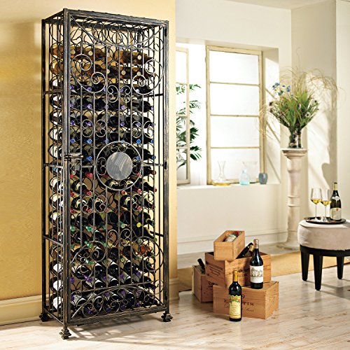 Wine Enthusiast 96 Bottle Wine Jail, Antiqued Steel