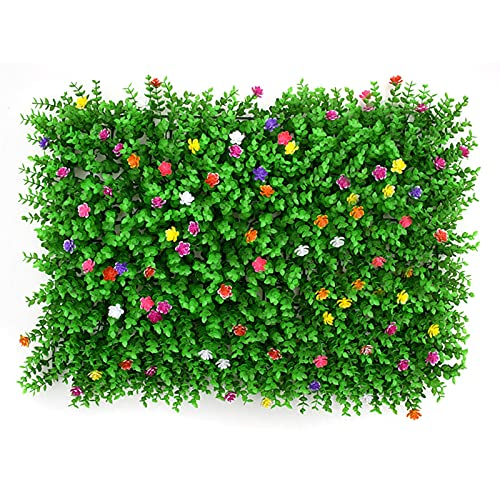 SHENYF Telón de Fondo de vegetación Paneles de bojas Artificiales de 24 x 16 Pulgadas con Flores, esteras de vegetación protegidas UV para decoración Tanto al Aire Libre como para Interiores