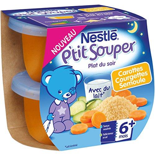 Nestlé Bébé P'tit Souper Carottes Courgettes Semoule - Plat Légumes et féculents - dès 6 mois - 2 x 200g - Pack de 8 ( 16 Plats )