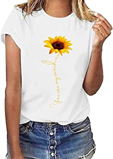 JustWin Women's Flower Print Vintage T-Shirt Women Plus Size Summer Beach Party T-Shirt Blouse Tops