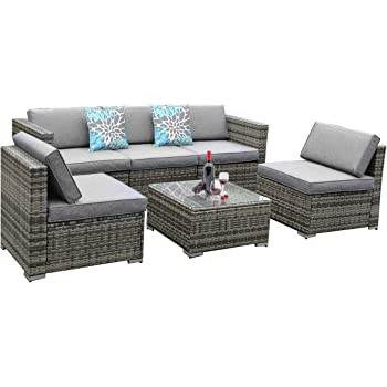 YITAHOME 6 Piece Outdoor Patio Furniture Sets, Garden Conversation Wicker Sofa Set, and Patio Sectional Furniture Sofa Set with Coffee Table and Cushion for Lawn, Backyard, and Poolside