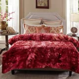 Chanasya Super Soft Fuzzy Faux Fur King Bed Blankets - Fluffy Plush Lightweight Cozy Snuggly with Reversible Sherpa for Living Room Bedroom - Burgundy Fall Winter Home Bedding (King) Maroon Blanket