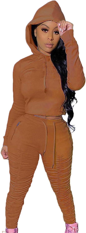 Two Piece Outfits for Women Set Long Sleeve Solid Color Tops Hoodie Long Pants Loungewear Sport Suit Pjs Set Sweatsuit
