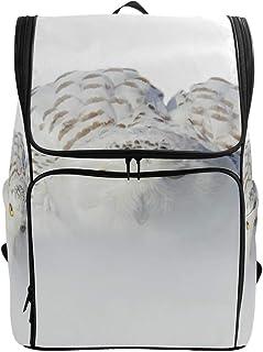 DEZIRO Mochila de viaje con búho nevado, color blanco, tamaño grande, mochila escolar multifuncional para mujeres y hombres de 19 x 14 x 7 pulgadas