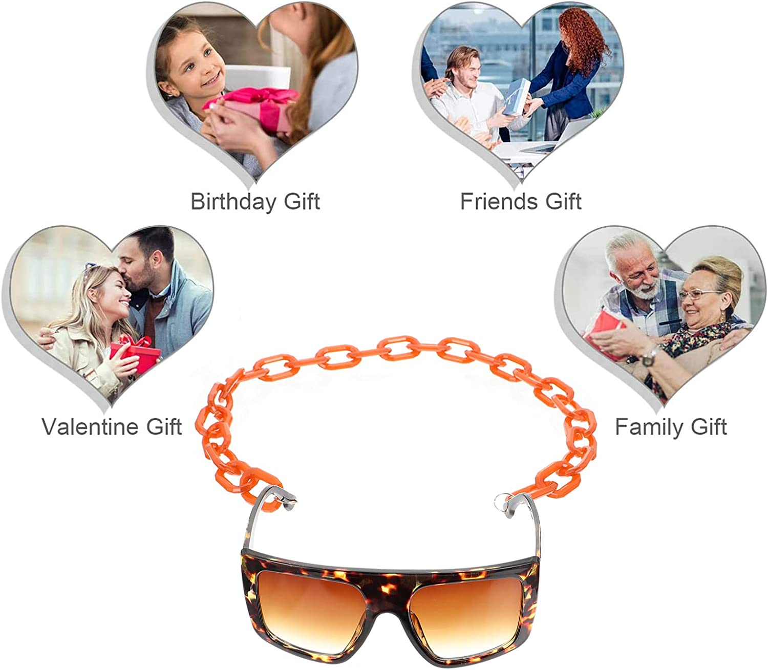 EXCEART Eyeglass Chain Strap Holder Acrylic Eyeglass Chain Acrylic Sunglasses Necklace Holder for Men and Women (Black)