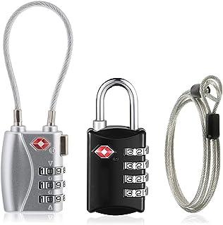 2個セット TSAロック 南京錠 4桁+3桁ダイヤル式 鍵 安全運輸局認定 海外旅行 安心 小型 2mワイヤーロープ付き (ブラック+シルバー)