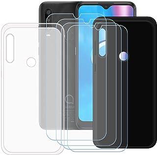TTJ Svart + genomskinligt fodral för Alcatel 1SE 2020 [4 stycken] HD pansarglas, mobiltelefonfodral silikon skyddande fodr...