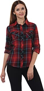 Lady Stark Women's Casual Shirt (LSTOP5254-XXL, Black and Maroon, XX-Large)