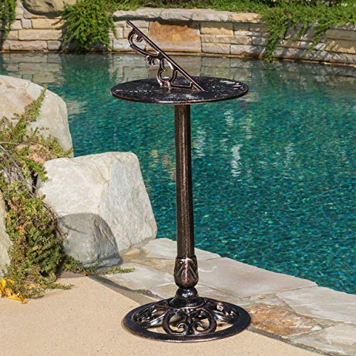 Metal Sundial Pedestal Base Vintage Compass Decor Using Sun Standing Sun Dial Vertical Old Fashioned Clock Time Outdoor Antique Rustic, Iron 31 Inch