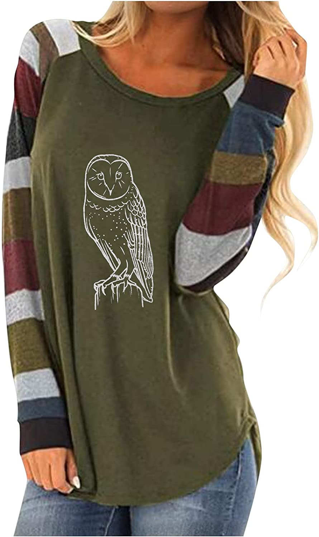 25% OFF Long Sleeve Shirts for Women Trendy 5 ☆ very popular Round Neck Dressy Owl Printi