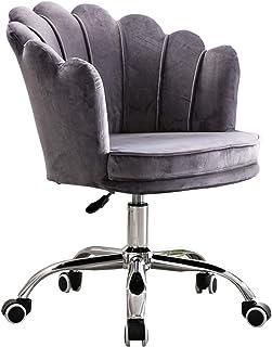 Silla Escritorio Silla pequeña de espuma viscoelástica para oficina en casa, silla decorativa de escritorio ajustable en altura con base de acero inoxidable con acabado cromado, terciopelo Sherpa Er