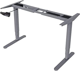 FLEXISPOT Height Adjustable Desk, Steel, 3-Stage Frame|Grey, Three Color:Grey