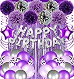 Purple and Silver Birthday Party Decorations Supplies Backdrop for Women, Silver Happy 13th 16th 18th 21st 30th 40th 50th 60th 70th 80th Birthday Decorations Balloons Banner for Women Her Girls