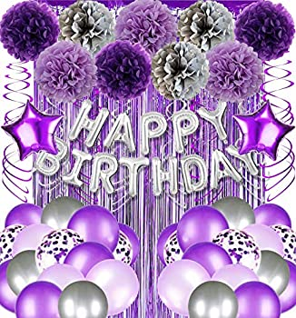 Purple and Silver Birthday Party Decorations Supplies Backdrop for Women Silver Happy 13th 16th 18th 21st 30th 40th 50th 60th 70th 80th Birthday Decorations Balloons Banner for Women Her Girls