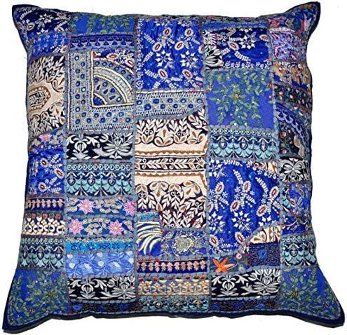 RSG Venture 24 Royal Blue Vintage Pillow Indian Patchwork Pillowcase XL Navy Blue Decorative product image