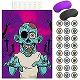 FEPITO Pon el Globo Ocular en el Juego de Halloween de Zombis con 24 Pegatinas de Globo Ocular de Zombis para Regalos de Fiesta de Halloween, Decoraciones de Halloween