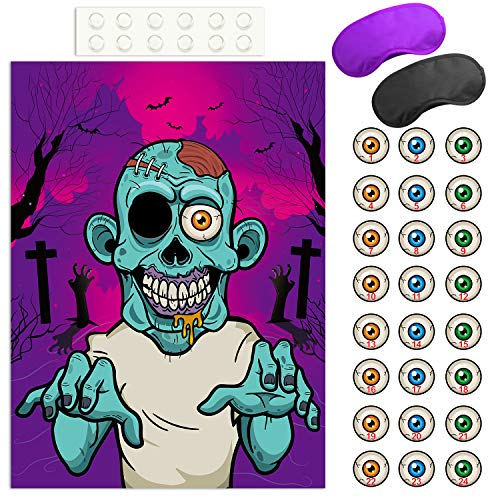 FEPITO Pin the Eyeball on the Zombie Halloween Game with 24 Pcs Zombie Eyeball Stickers for Halloween Party Favors, Halloween Decorations