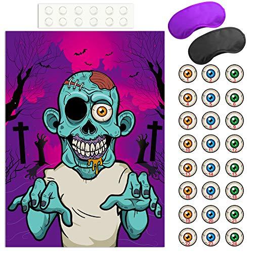 FEPITO Appunta Il bulbo oculare sul Gioco di Halloween di Zombi con 24 Adesivi a bulbo oculare di Zombi per bomboniere e Decorazioni di Halloween