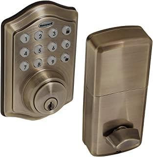 Honeywell Safes & Door Locks - 8712109 Electronic Entry Deadbolt with Keypad, Antique Brass (Color Shade May Vary)