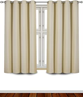 Utopia Bedding Blackout Room Darkening and Thermal Insulating Window Curtains/Panels/Drapes - 2 Panels Set - 8 Grommets per Panel - 2 Tie Backs Included (Beige, 52 x 63 Inches with Grommets)