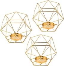 Flameer 3pcs Votive Candle Holders, Geometric Metal Cage Votive Tealight Candle Holder, Minimalist Candlestick for Wedding...