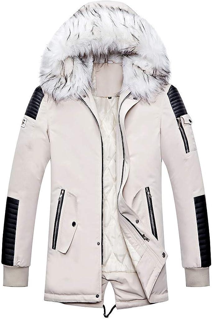Men's Down Jaket for Winter Parkas NRUTUP Faux Fur Hooded Puffer Jacket Faux Leather Patchwork Warm Work Outwear