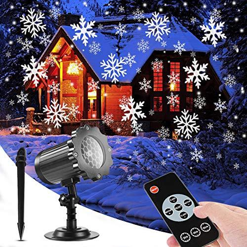 SUPCHON Led Projektor Weihnachten Aussen, Weihnachtsbeleuchtung Außen Led Lampe mit Schneeflocken Beamer, RF Fernbedienung und Timer, IP65, Innen und Außen Weihnachtsdeko Garten