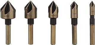 ABN Screw Countersink Kit 5-Piece SAE Drill Bit Set, 82-Degree, 1/4in Shank, 5 Flute – Metal, Wood, Rubber, Plastic