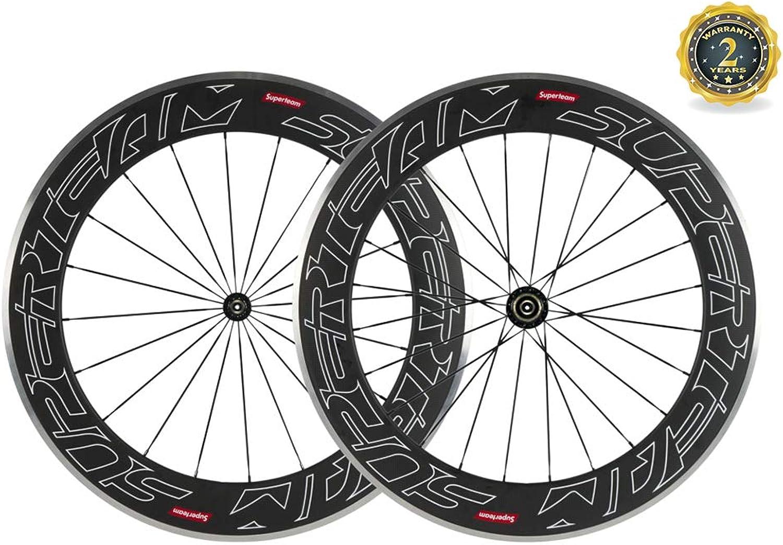 Superteam 80mm Alloy Braking Surface Wheel 23mm Carbon Wheelset 700c Clincher