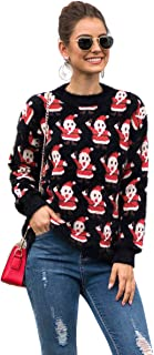 N NORA TWIPS Womens Christmas Sweater Long Sleeve Funny Xmas Pullover Sweater Jumpers