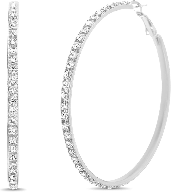 Steve Madden 60mm Rhinestone Hoop Earrings for Women