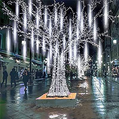 ZHEWEN Meteor Shower Rain Lights, 8 Tube 192 LEDs Outdoor Christmas String Light, Plug Powered Waterproof Snow Falling Raindrop Icicle Cascading Decoration Lights for Party Garden Home (White)
