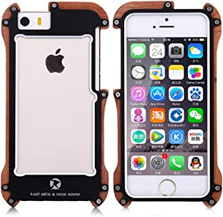 HikerClub iPhone 5 5s SE Case Wood Metal Bumper Case Nature Wooden Grain Frame Luxury Aircraft Aluminum Armor Defender Ultra Sleek Edge Shockproof Cover for iPhone 5/5S/SE