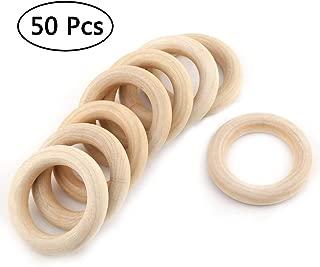 ISusser 50pcs DIY Natural Wood Rings, 2.2