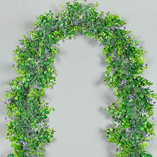 Luyue 2 Pack 5.9ft Artificial Eucalyptus Garland Plant Hanging Greenery Leaves Faux Babysbreath Flower Vines for Decoration Outdoor Wedding Arch Decor-(with Purple Flowers)