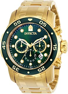 Men's Pro Diver Scuba 48mm Gold Tone Stainless Steel Chronograph Quartz Watch, Gold/Green (Model:...