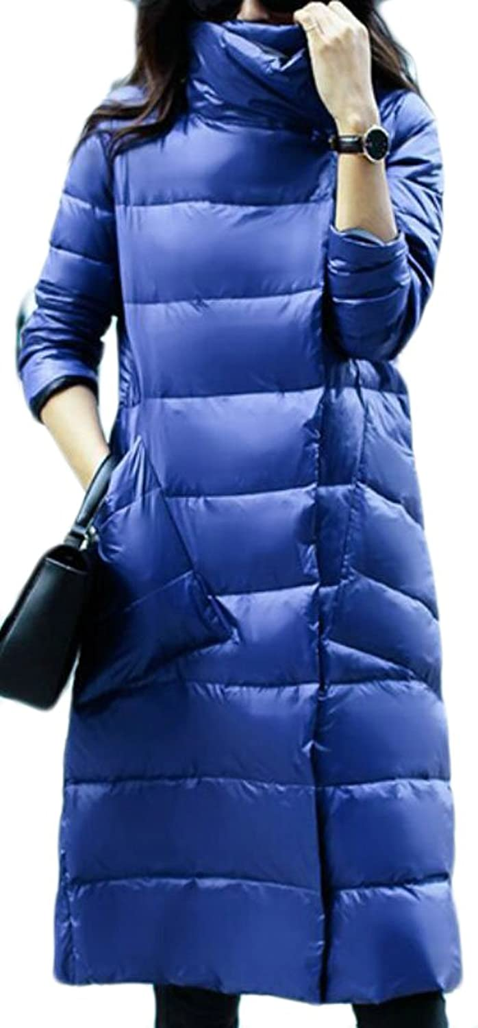 GAGA Women Slim Fit Thicken Warm Solid color Puffer Down Overcoat