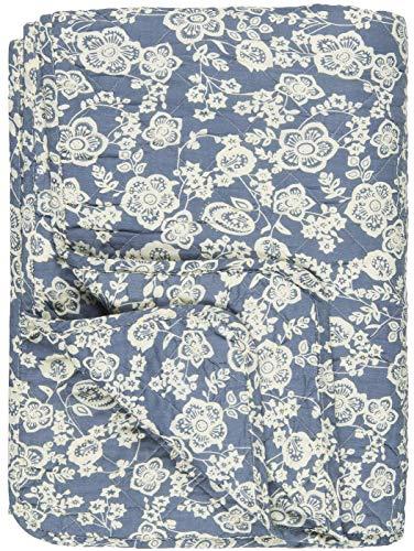 IB Laursen Quilt Blau mit Blumen Decke Tagesdecke 130x180 cm Bettüberwurf